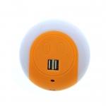 ปลั๊กชาร์ต USB โคมไฟ สีส้ม